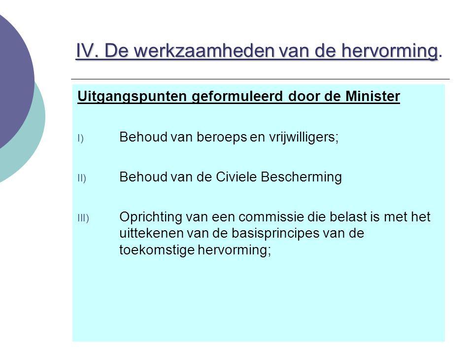 IV. De werkzaamheden van de hervorming IV. De werkzaamheden van de hervorming. Uitgangspunten geformuleerd door de Minister I) Behoud van beroeps en v