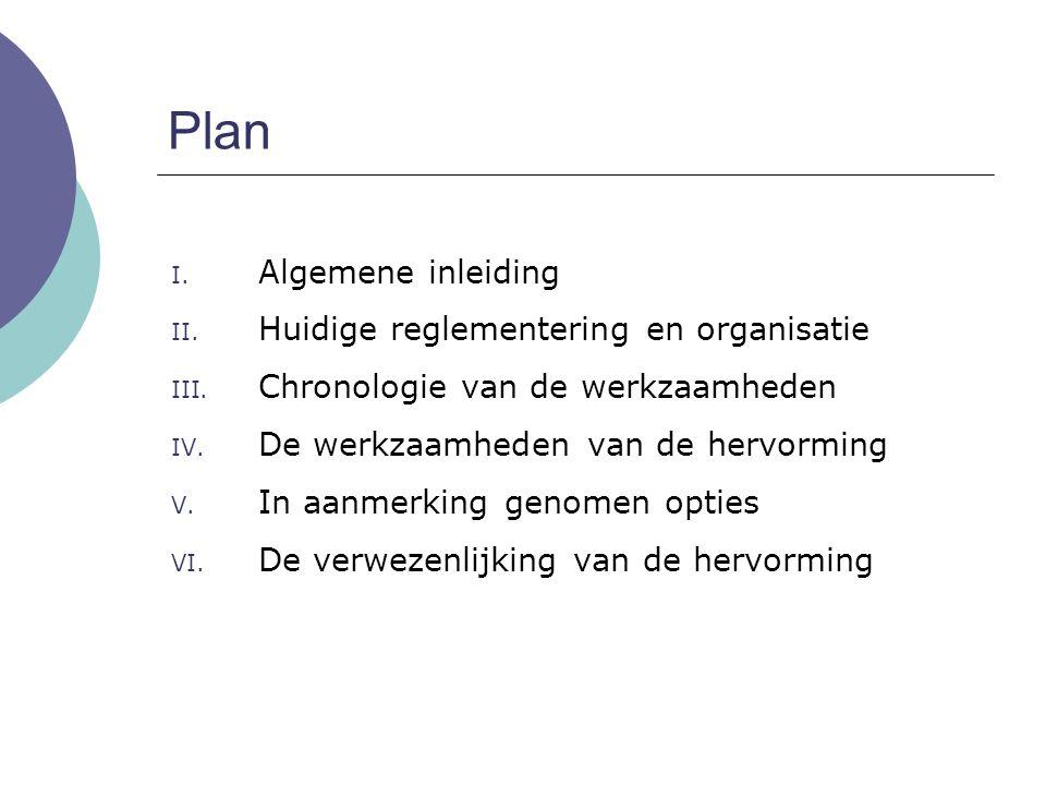 Plan I. Algemene inleiding II. Huidige reglementering en organisatie III. Chronologie van de werkzaamheden IV. De werkzaamheden van de hervorming V. I
