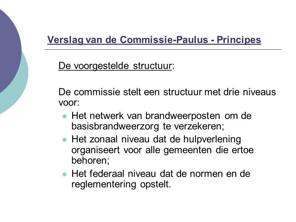 De voorgestelde structuur: De commissie stelt een structuur met drie niveaus voor: Het netwerk van brandweerposten om de basisbrandweerzorg te verzeke