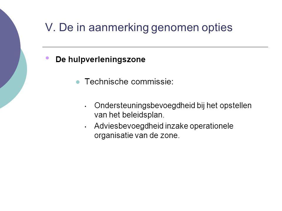 De hulpverleningszone Technische commissie: Ondersteuningsbevoegdheid bij het opstellen van het beleidsplan. Adviesbevoegdheid inzake operationele org