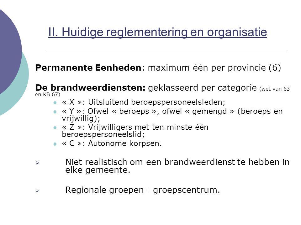 Permanente Eenheden: maximum één per provincie (6) De brandweerdiensten: geklasseerd per categorie (wet van 63 en KB 67) « X »: Uitsluitend beroepsper