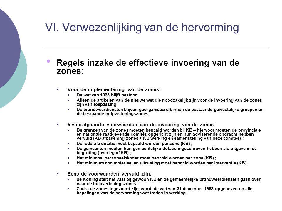 Regels inzake de effectieve invoering van de zones:  Voor de implementering van de zones:  De wet van 1963 blijft bestaan.  Alleen de artikelen van