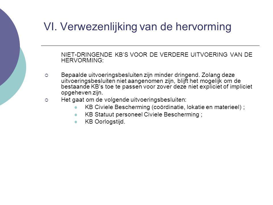 NIET-DRINGENDE KB'S VOOR DE VERDERE UITVOERING VAN DE HERVORMING:  Bepaalde uitvoeringsbesluiten zijn minder dringend. Zolang deze uitvoeringsbesluit