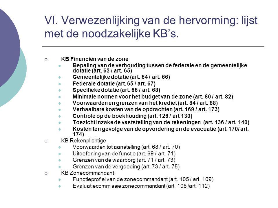  KB Financiën van de zone Bepaling van de verhouding tussen de federale en de gemeentelijke dotatie (art. 63 / art. 65) Gemeentelijke dotatie (art. 6