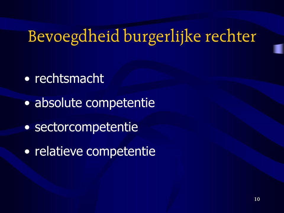 10 Bevoegdheid burgerlijke rechter rechtsmacht absolute competentie sectorcompetentie relatieve competentie