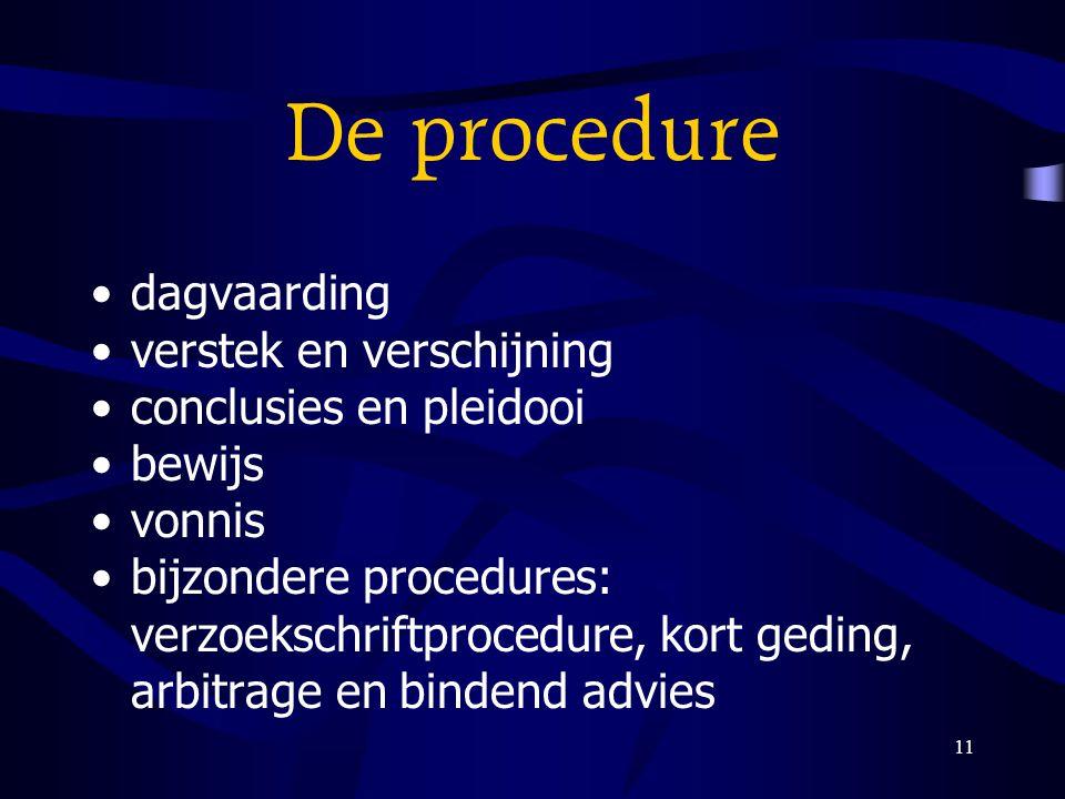 11 De procedure dagvaarding verstek en verschijning conclusies en pleidooi bewijs vonnis bijzondere procedures: verzoekschriftprocedure, kort geding,