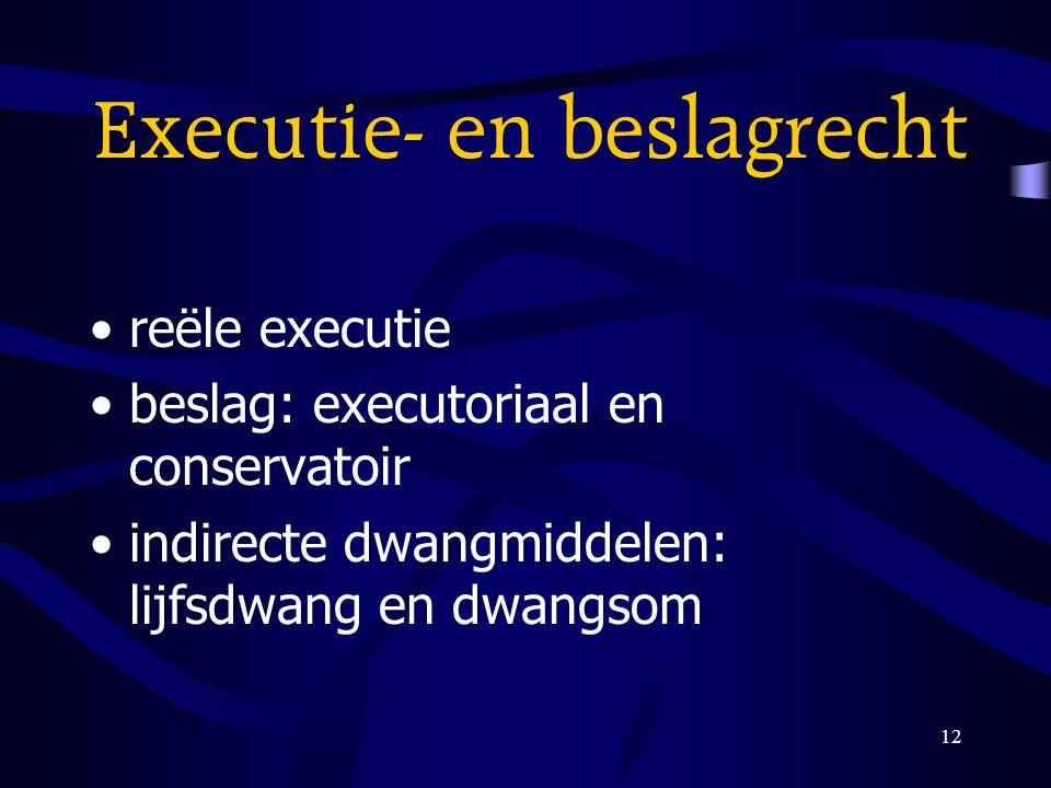 12 Executie- en beslagrecht reële executie beslag: executoriaal en conservatoir indirecte dwangmiddelen: lijfsdwang en dwangsom