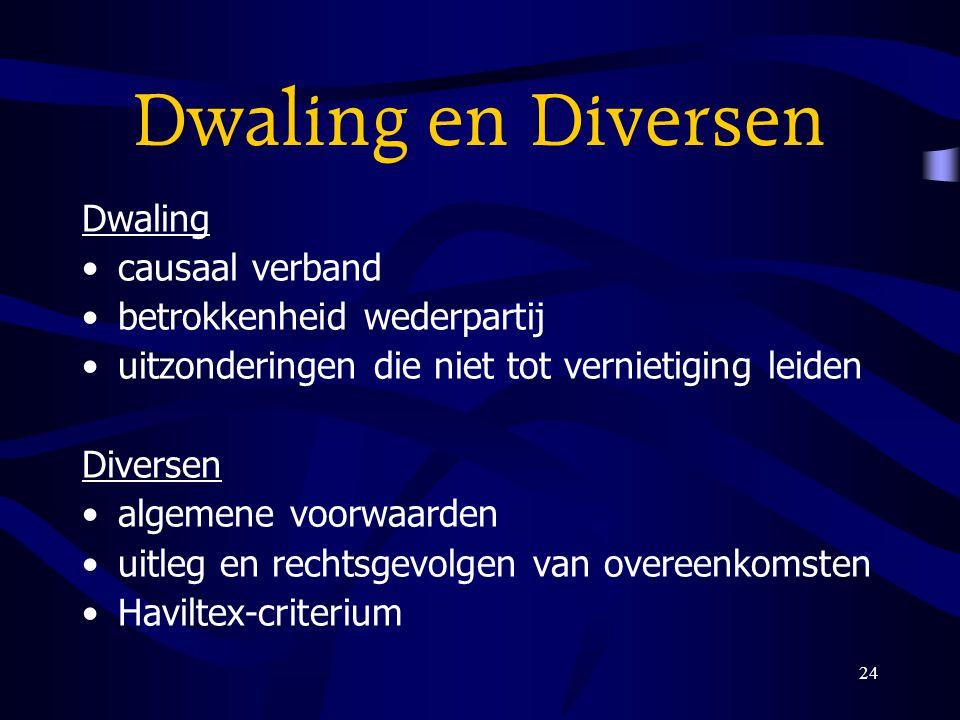 24 Dwaling en Diversen Dwaling causaal verband betrokkenheid wederpartij uitzonderingen die niet tot vernietiging leiden Diversen algemene voorwaarden