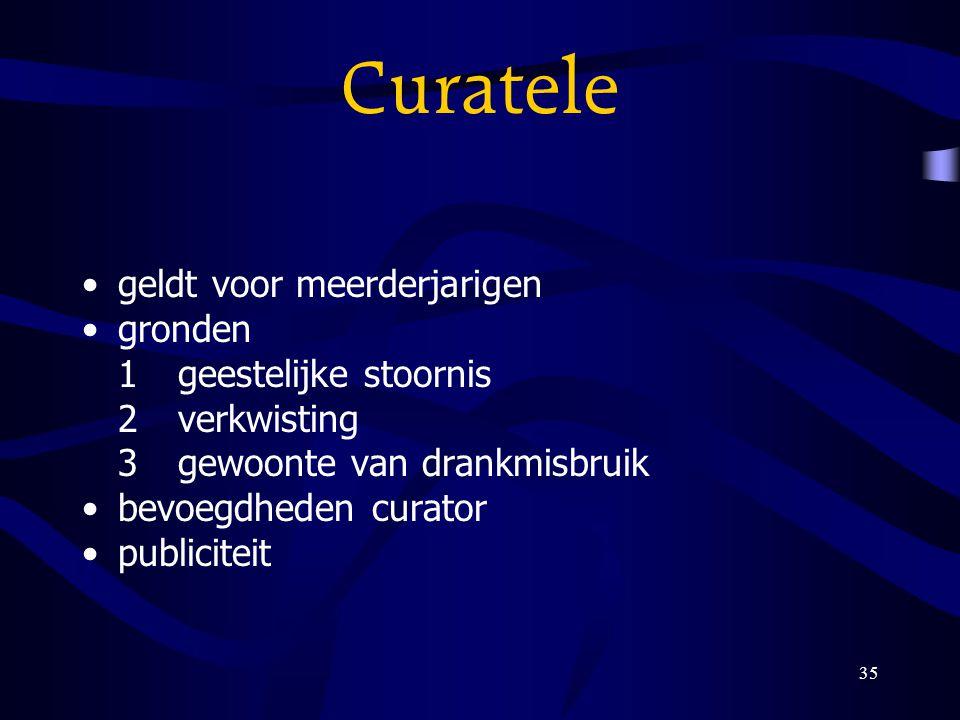 35 Curatele geldt voor meerderjarigen gronden 1geestelijke stoornis 2verkwisting 3gewoonte van drankmisbruik bevoegdheden curator publiciteit