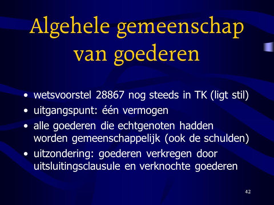 42 Algehele gemeenschap van goederen wetsvoorstel 28867 nog steeds in TK (ligt stil) uitgangspunt: één vermogen alle goederen die echtgenoten hadden w