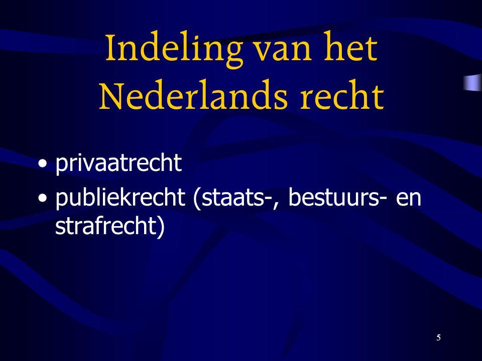 5 Indeling van het Nederlands recht privaatrecht publiekrecht (staats-, bestuurs- en strafrecht)