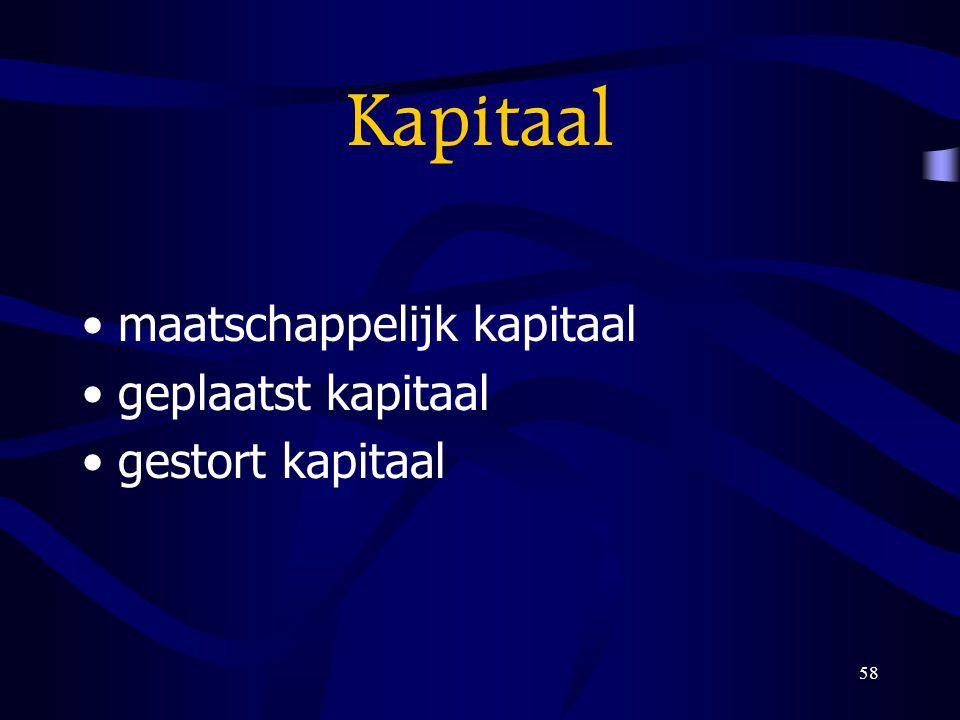 58 Kapitaal maatschappelijk kapitaal geplaatst kapitaal gestort kapitaal