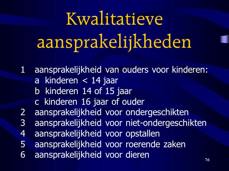 76 Kwalitatieve aansprakelijkheden 1aansprakelijkheid van ouders voor kinderen: a kinderen < 14 jaar b kinderen 14 of 15 jaar c kinderen 16 jaar of ou