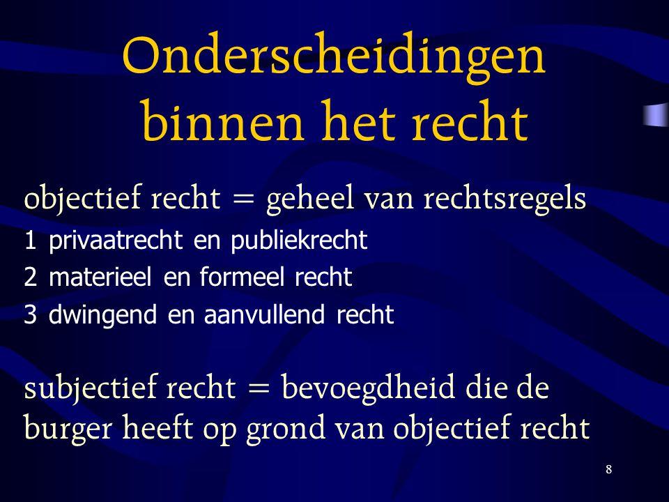 8 Onderscheidingen binnen het recht objectief recht = geheel van rechtsregels 1privaatrecht en publiekrecht 2materieel en formeel recht 3dwingend en a