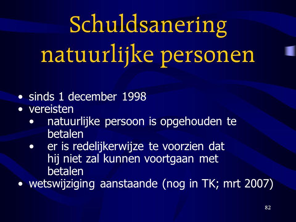 82 Schuldsanering natuurlijke personen sinds 1 december 1998 vereisten natuurlijke persoon is opgehouden te betalen er is redelijkerwijze te voorzien