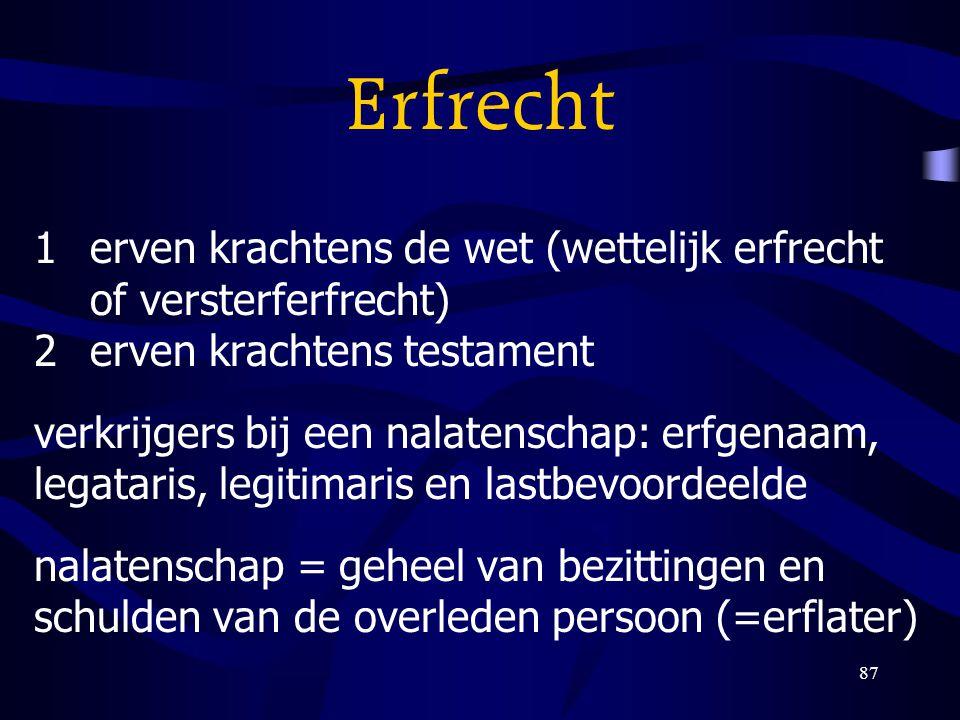 87 Erfrecht 1erven krachtens de wet (wettelijk erfrecht of versterferfrecht) 2erven krachtens testament verkrijgers bij een nalatenschap: erfgenaam, l