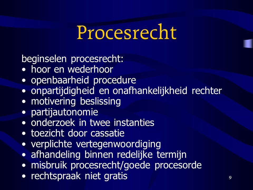 9 Procesrecht beginselen procesrecht: hoor en wederhoor openbaarheid procedure onpartijdigheid en onafhankelijkheid rechter motivering beslissing part