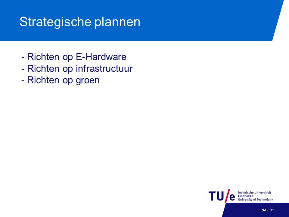 Strategische plannen PAGE 12 - Richten op E-Hardware - Richten op infrastructuur - Richten op groen