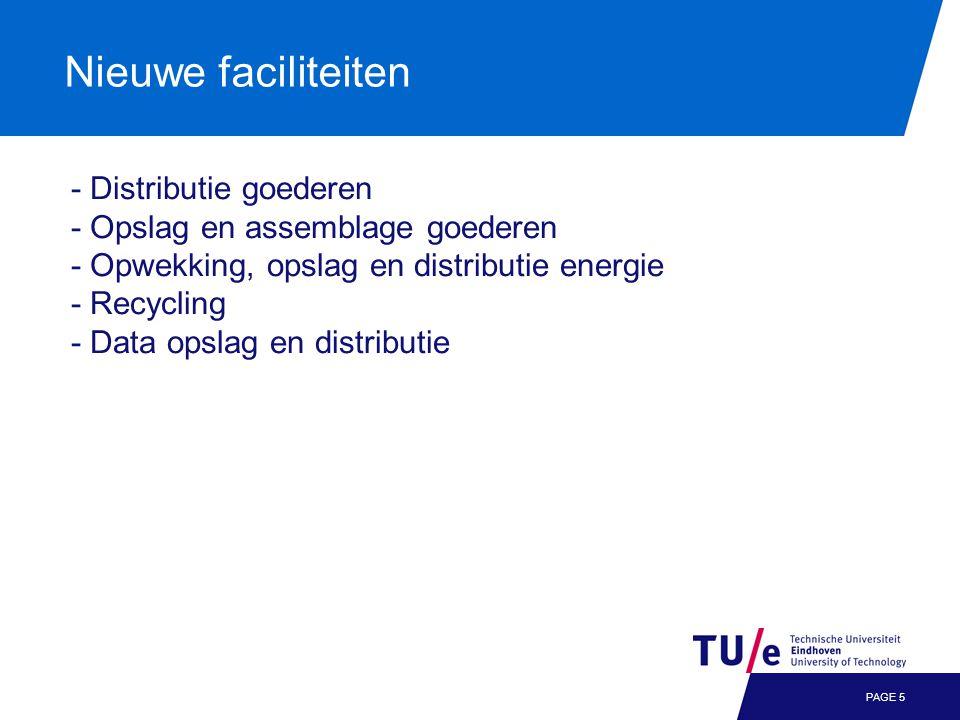 Nieuwe faciliteiten PAGE 5 - Distributie goederen - Opslag en assemblage goederen - Opwekking, opslag en distributie energie - Recycling - Data opslag