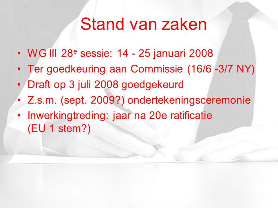 Stand van zaken WG III 28 e sessie: 14 - 25 januari 2008 Ter goedkeuring aan Commissie (16/6 -3/7 NY) Draft op 3 juli 2008 goedgekeurd Z.s.m.