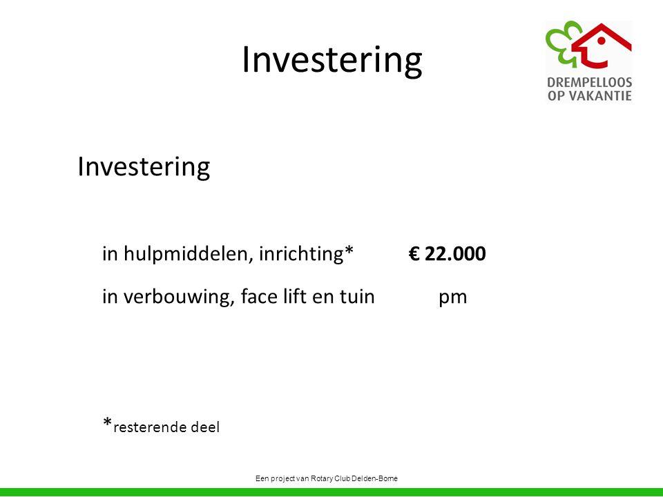 Investering in hulpmiddelen, inrichting*€ 22.000 in verbouwing, face lift en tuin pm * resterende deel Een project van Rotary Club Delden-Borne