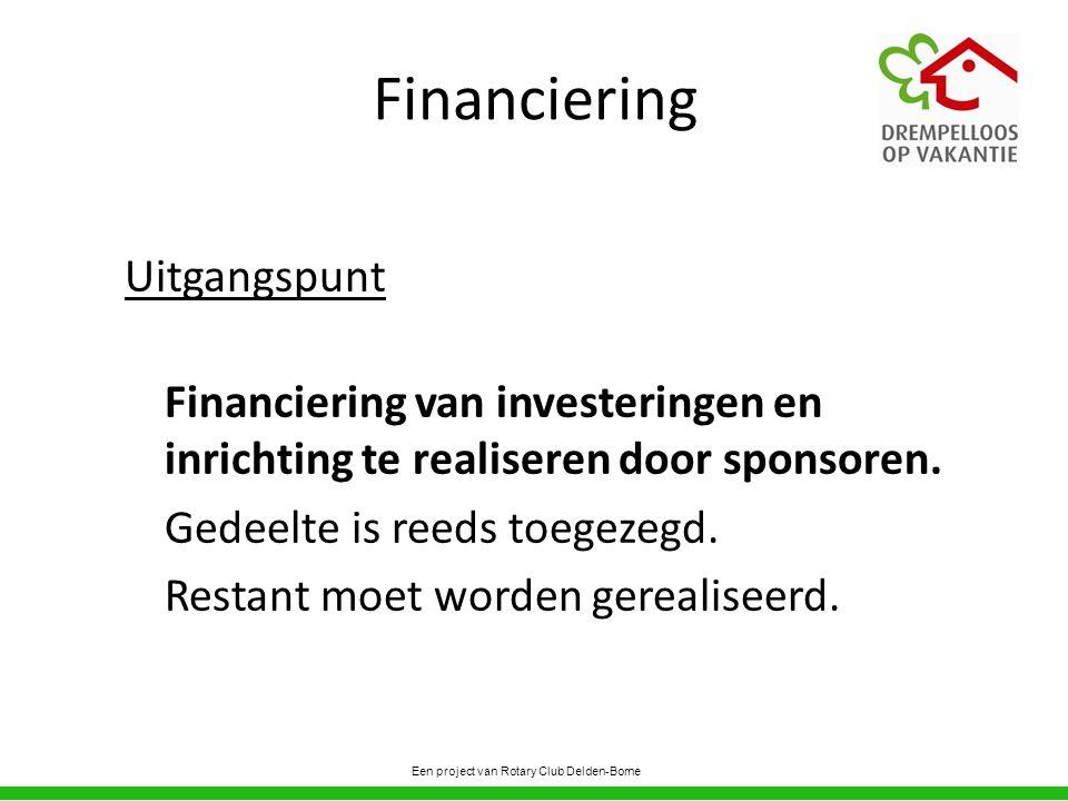 Financiering Uitgangspunt Financiering van investeringen en inrichting te realiseren door sponsoren.