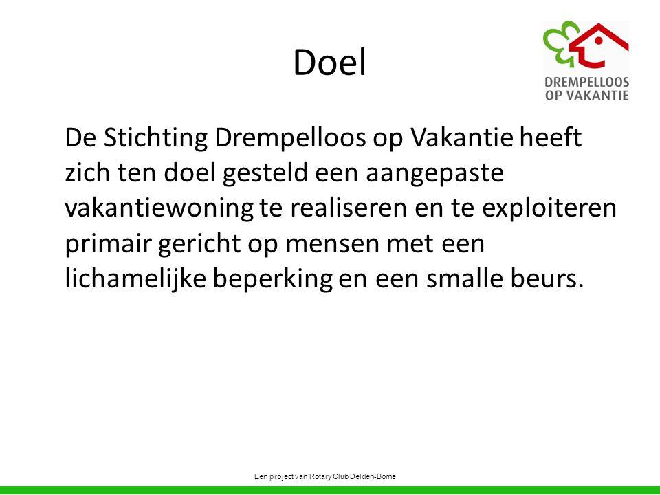 Doel De Stichting Drempelloos op Vakantie heeft zich ten doel gesteld een aangepaste vakantiewoning te realiseren en te exploiteren primair gericht op mensen met een lichamelijke beperking en een smalle beurs.