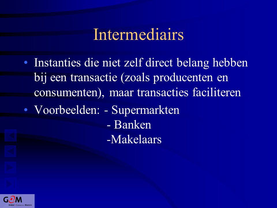 Intermediairs Instanties die niet zelf direct belang hebben bij een transactie (zoals producenten en consumenten), maar transacties faciliteren Voorbeelden: - Supermarkten - Banken -Makelaars
