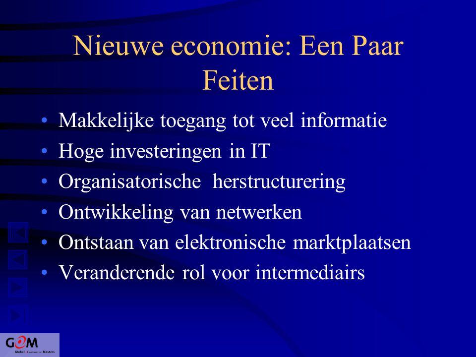 Nieuwe economie: Een Paar Feiten Makkelijke toegang tot veel informatie Hoge investeringen in IT Organisatorische herstructurering Ontwikkeling van netwerken Ontstaan van elektronische marktplaatsen Veranderende rol voor intermediairs