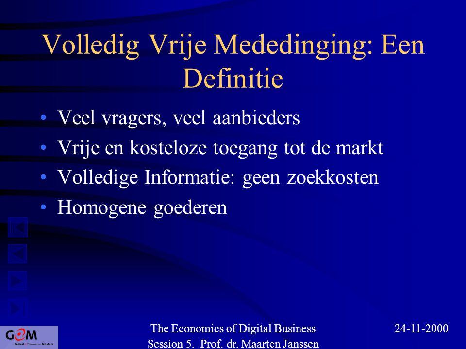 Volledig Vrije Mededinging: Een Definitie Veel vragers, veel aanbieders Vrije en kosteloze toegang tot de markt Volledige Informatie: geen zoekkosten Homogene goederen Session 5.