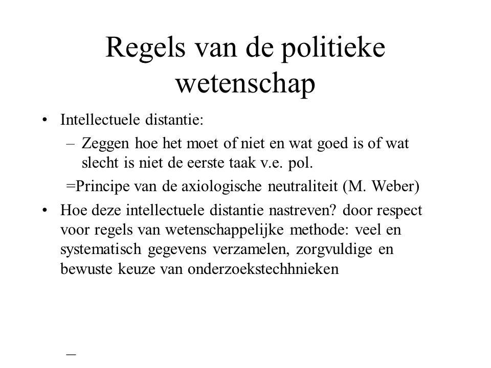 Regels van de politieke wetenschap Intellectuele distantie: –Zeggen hoe het moet of niet en wat goed is of wat slecht is niet de eerste taak v.e. pol.