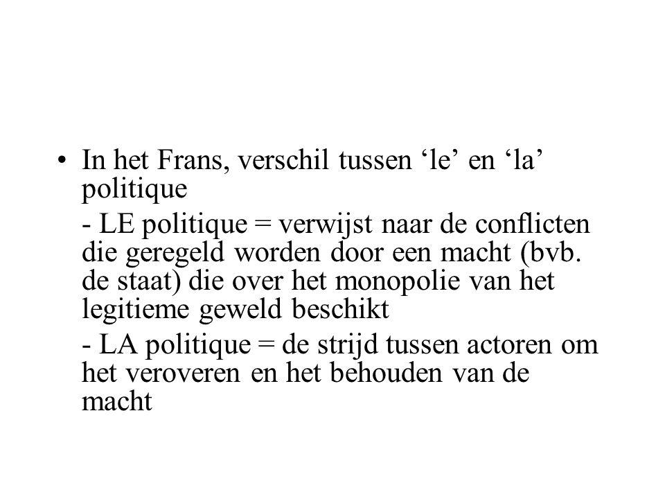In het Frans, verschil tussen 'le' en 'la' politique - LE politique = verwijst naar de conflicten die geregeld worden door een macht (bvb. de staat) d