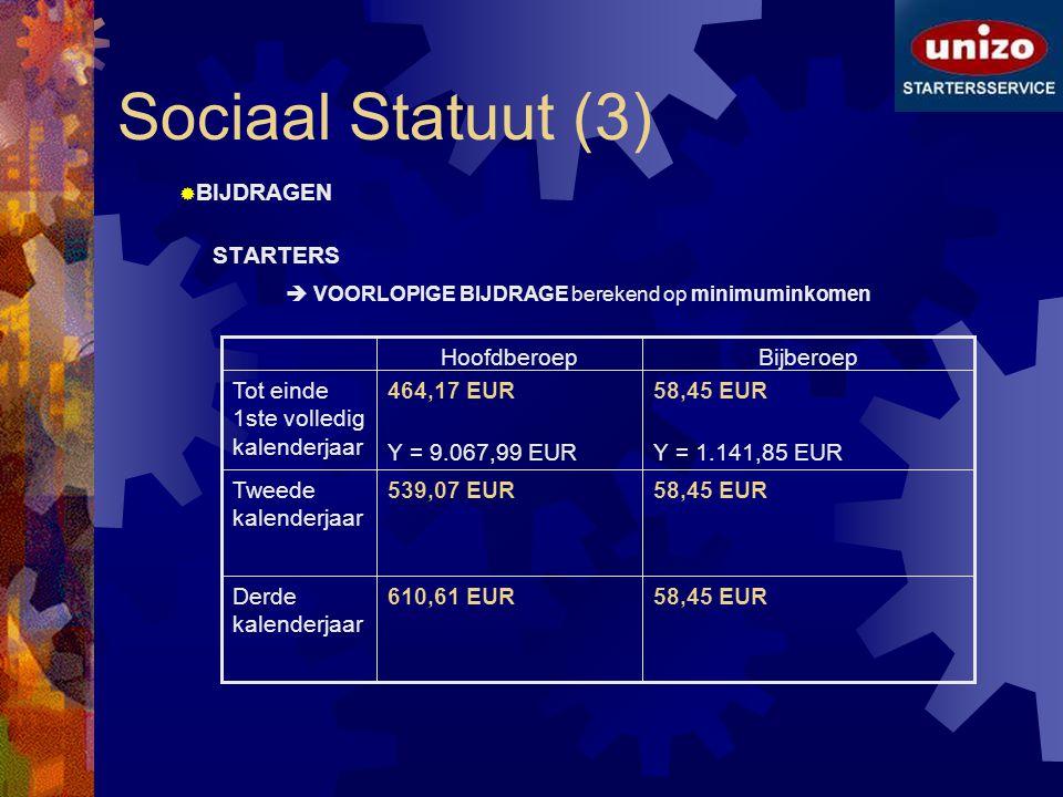 Sociaal Statuut (3)  BIJDRAGEN STARTERS  VOORLOPIGE BIJDRAGE berekend op minimuminkomen 58,45 EUR610,61 EURDerde kalenderjaar 58,45 EUR539,07 EURTwe