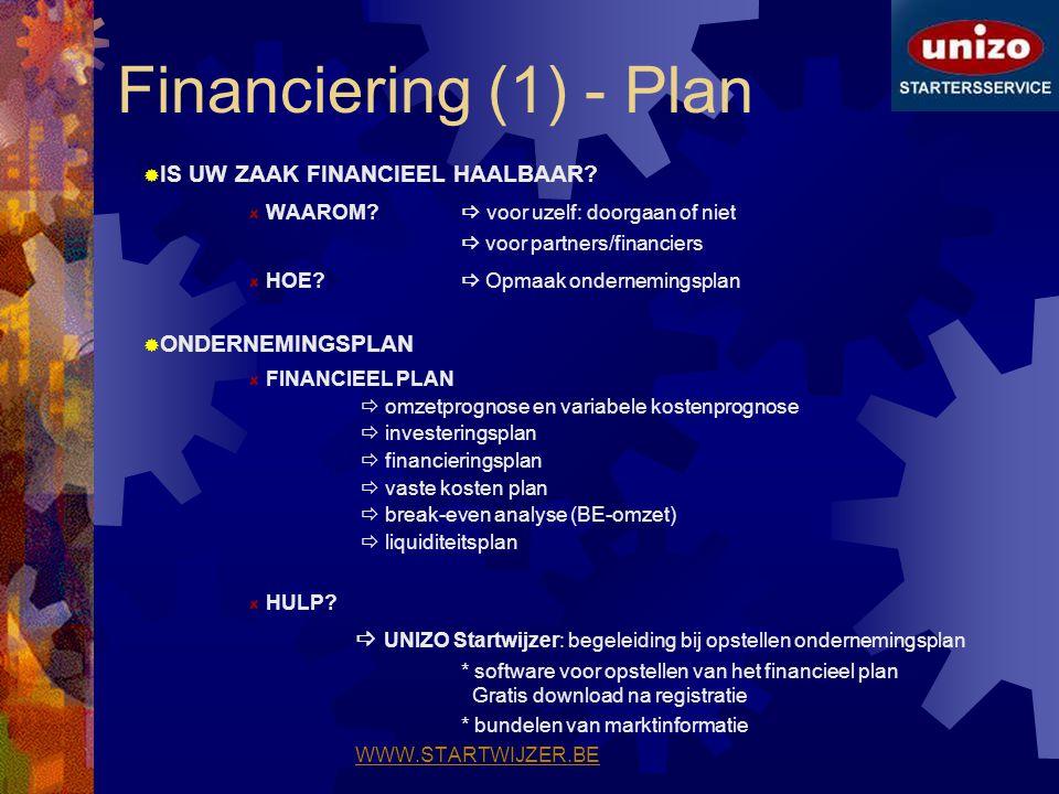 Financiering (1) - Plan  IS UW ZAAK FINANCIEEL HAALBAAR? WAAROM?  voor uzelf: doorgaan of niet  voor partners/financiers HOE?  Opmaak ondernemings