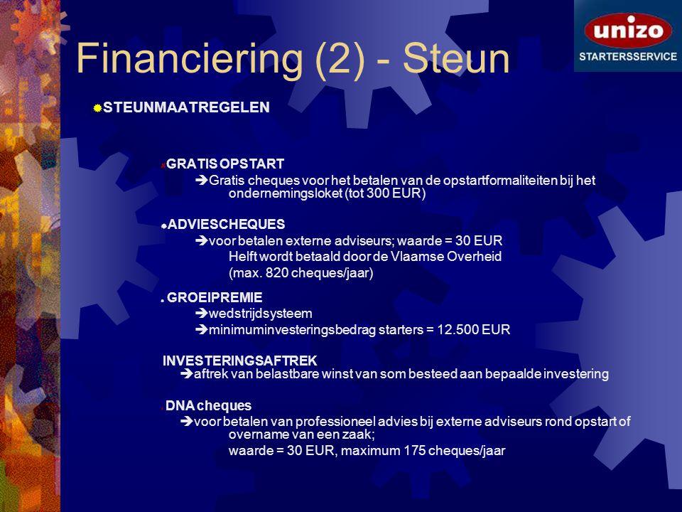 Financiering (2) - Steun  STEUNMAATREGELEN GRATIS OPSTART  Gratis cheques voor het betalen van de opstartformaliteiten bij het ondernemingsloket (to