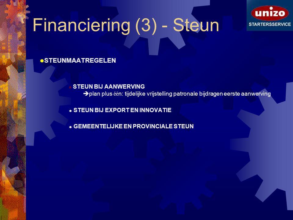 Financiering (3) - Steun  STEUNMAATREGELEN STEUN BIJ AANWERVING  plan plus éé n: tijdelijke vrijstelling patronale bijdragen eerste aanwerving  STE
