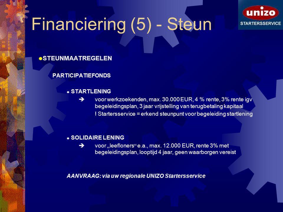 Financiering (5) - Steun  STEUNMAATREGELEN PARTICIPATIEFONDS  STARTLENING  voor werkzoekenden, max. 30.000 EUR, 4 % rente, 3% rente igv begeleiding