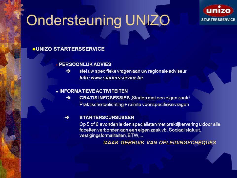 Ondersteuning UNIZO  UNIZO STARTERSSERVICE PERSOONLIJK ADVIES  stel uw specifieke vragen aan uw regionale adviseur Info: www.startersservice.be  IN