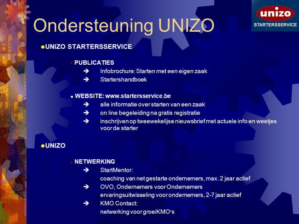 Ondersteuning UNIZO  UNIZO STARTERSSERVICE PUBLICATIES  Infobrochure: Starten met een eigen zaak  Startershandboek  WEBSITE: www.startersservice.b