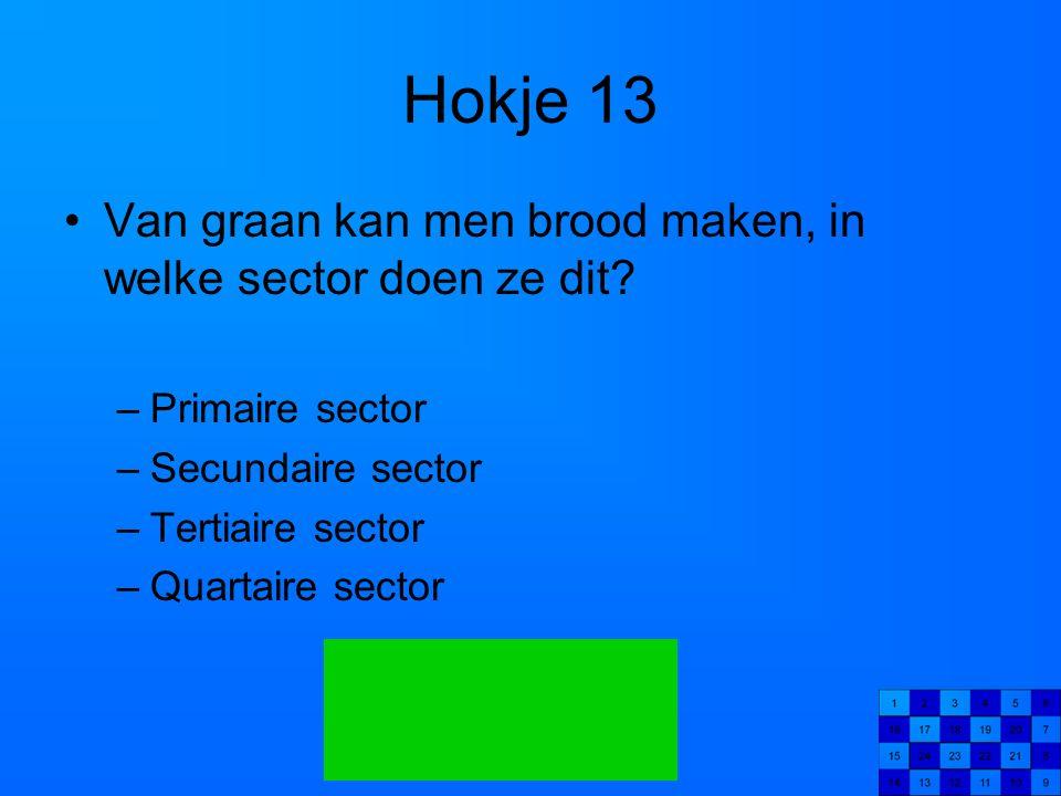 Hokje 13 Van graan kan men brood maken, in welke sector doen ze dit? –Primaire sector –Secundaire sector –Tertiaire sector –Quartaire sector