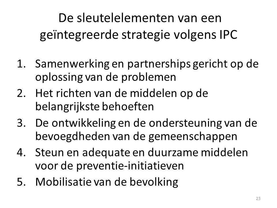 23 De sleutelelementen van een geïntegreerde strategie volgens IPC 1.Samenwerking en partnerships gericht op de oplossing van de problemen 2.Het richten van de middelen op de belangrijkste behoeften 3.De ontwikkeling en de ondersteuning van de bevoegdheden van de gemeenschappen 4.Steun en adequate en duurzame middelen voor de preventie-initiatieven 5.Mobilisatie van de bevolking
