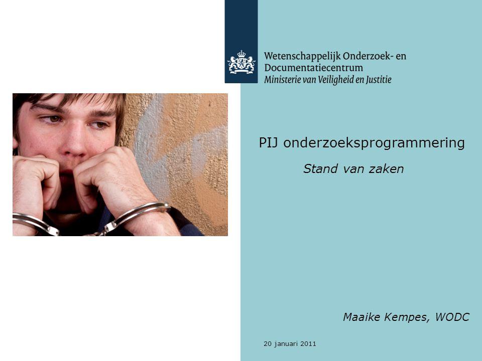 PIJ onderzoeksprogrammering | 20 januari 2011 Uitvoering PIJ-maatregel: 30 jongeren met een PIJ (Addink e.a., 2010) Top drie doelen behandelplan: 1.