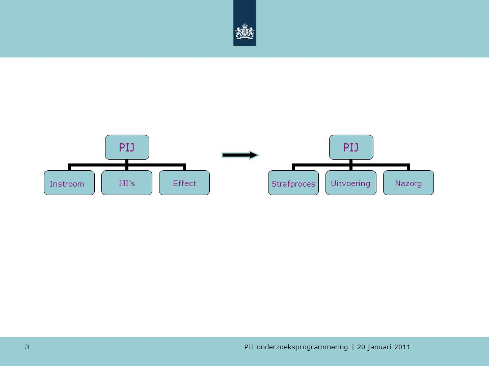 PIJ onderzoeksprogrammering | 20 januari 2011 4 5 thema's 1.PIJ-populatie 2.Beleid en regelgeving 3.Uitvoering 4.(Gedragsinterventies) 5.Proefverlof/Nazorg