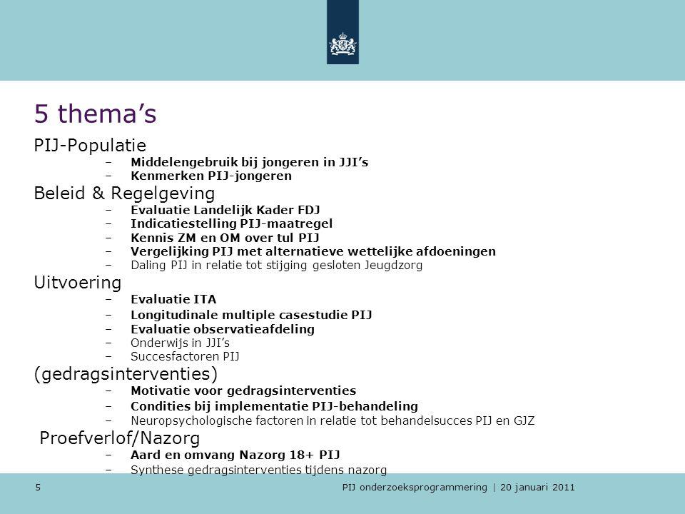 PIJ onderzoeksprogrammering | 20 januari 2011 5 5 thema's PIJ-Populatie –Middelengebruik bij jongeren in JJI's –Kenmerken PIJ-jongeren Beleid & Regelg