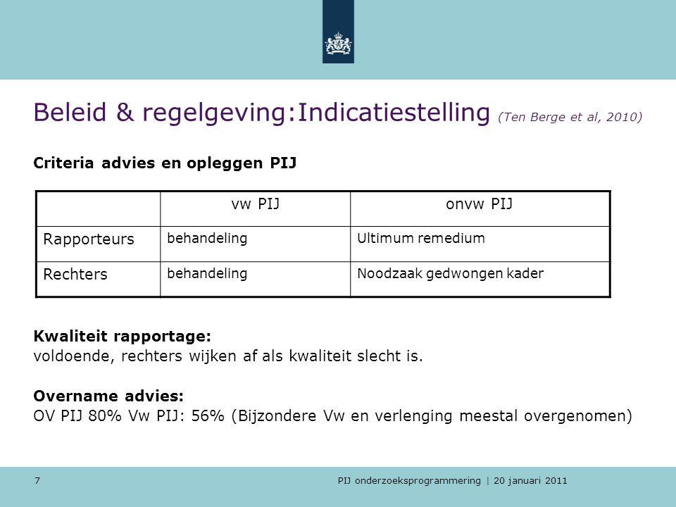PIJ onderzoeksprogrammering | 20 januari 2011 7 Beleid & regelgeving:Indicatiestelling (Ten Berge et al, 2010) Criteria advies en opleggen PIJ Kwalite