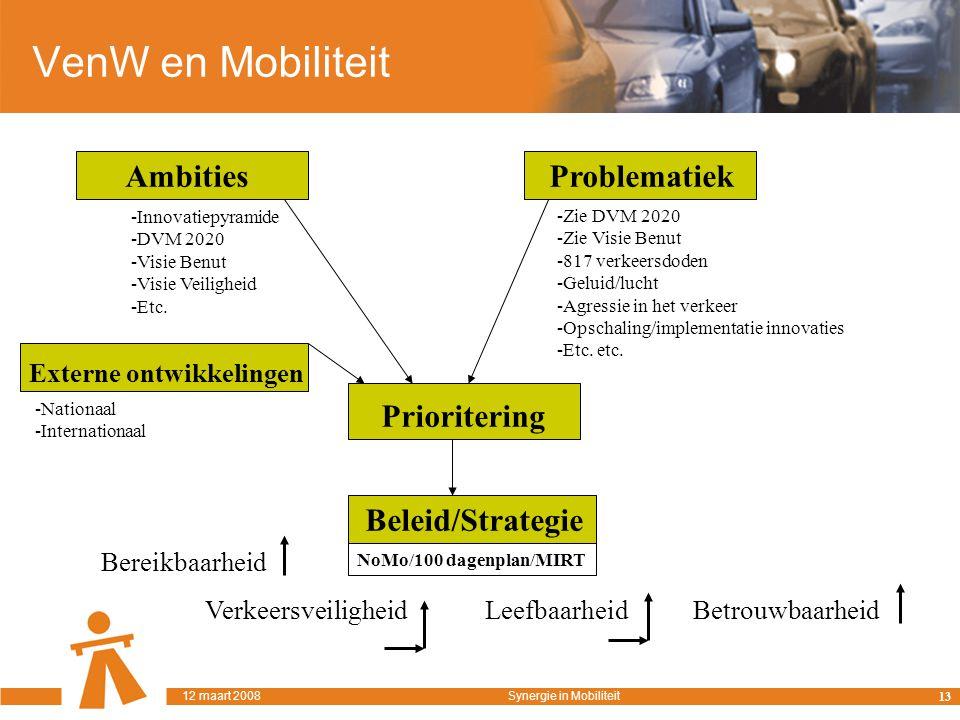 VenW en Mobiliteit AmbitiesProblematiek -Innovatiepyramide -DVM 2020 -Visie Benut -Visie Veiligheid -Etc.