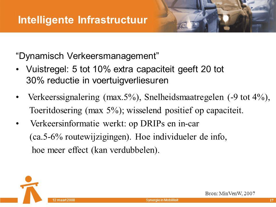 Intelligente Infrastructuur Dynamisch Verkeersmanagement Vuistregel: 5 tot 10% extra capaciteit geeft 20 tot 30% reductie in voertuigverliesuren Bron: MinVenW, 2007 Verkeerssignalering (max.5%), Snelheidsmaatregelen (-9 tot 4%), Toeritdosering (max 5%); wisselend positief op capaciteit.