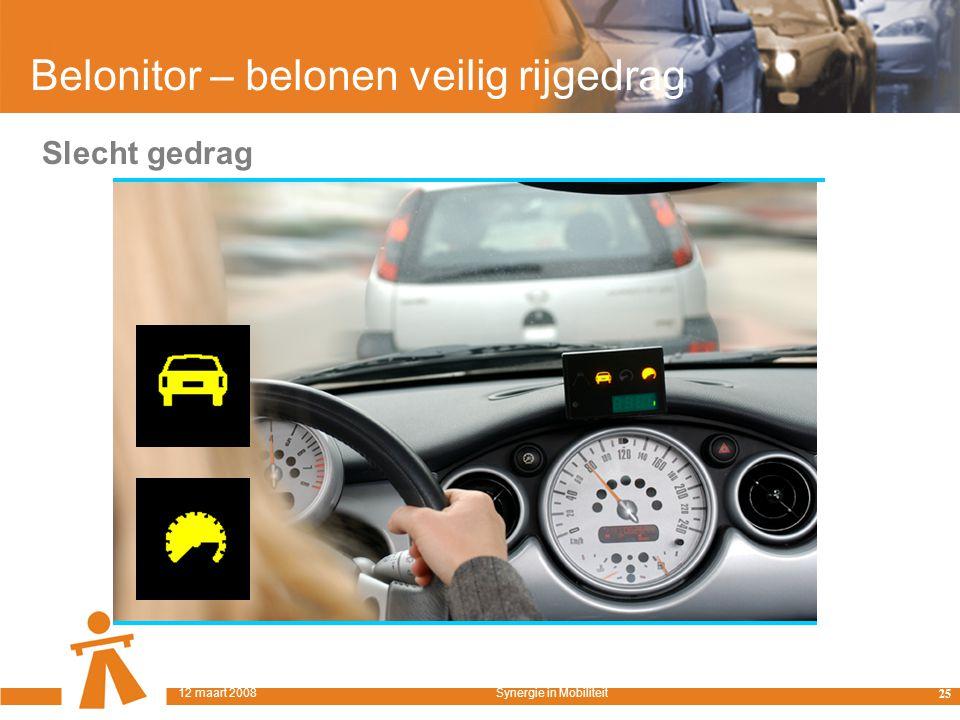 Belonitor – belonen veilig rijgedrag Slecht gedrag 25 12 maart 2008Synergie in Mobiliteit