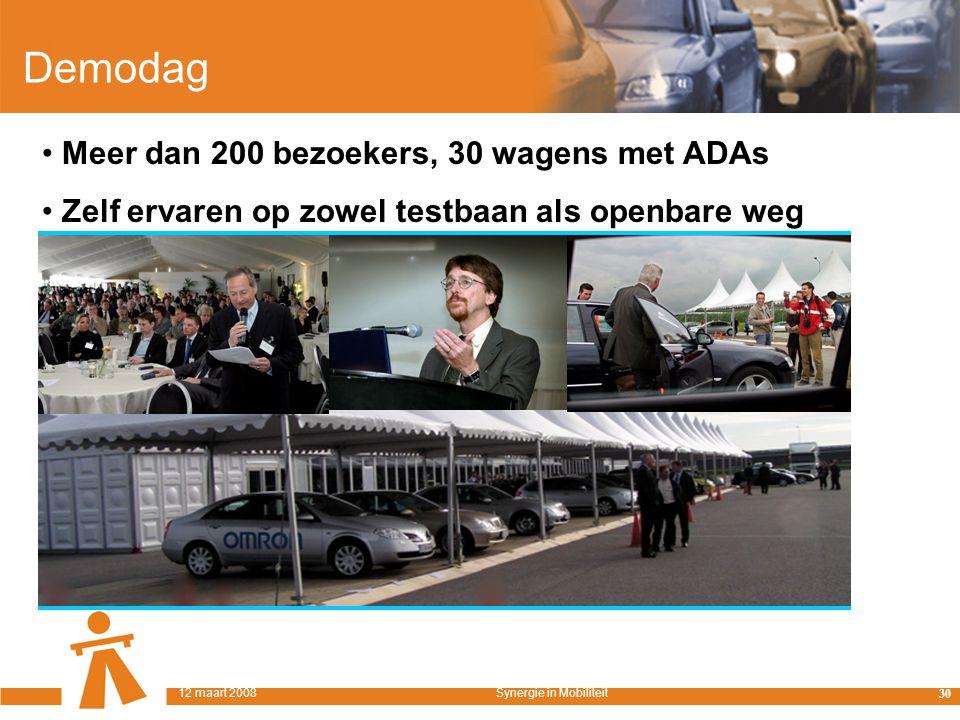 Demodag Meer dan 200 bezoekers, 30 wagens met ADAs Zelf ervaren op zowel testbaan als openbare weg 30 12 maart 2008Synergie in Mobiliteit