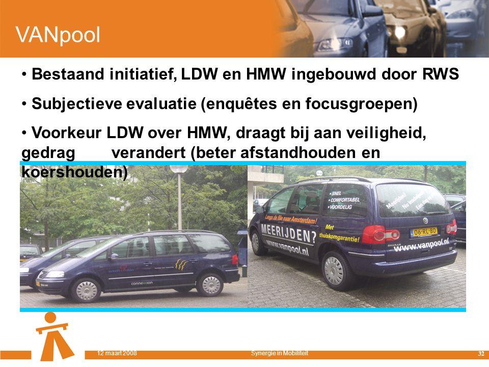 VANpool Bestaand initiatief, LDW en HMW ingebouwd door RWS Subjectieve evaluatie (enquêtes en focusgroepen) Voorkeur LDW over HMW, draagt bij aan veiligheid, gedrag verandert (beter afstandhouden en koershouden) 32 12 maart 2008Synergie in Mobiliteit